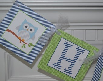 Owl Happy Birthday Banner  - Blue and Green Owl Banner - Owl Party - Owl Birthday - Owl Baby Shower -  Party Packs Available