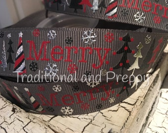 "7/8"" Christmas Merry Trees Slate Metallic Snowflake Grosgrain Ribbon"