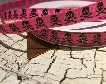 """3 yards 3/8"""" girly black glitter skull Halloween on pink grosgrain ribbon"""
