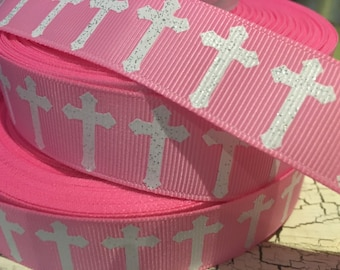 "7/8"" Glitter Easter Cross on pink grosgrain"