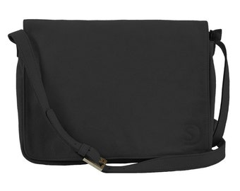 "Men leather clutch with adjustable strap, black, named ""K XL"""