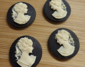 18mm round resin cameo of lady ponytail profile ivory on black 4 pc lot lN