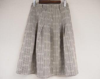 1990s vintage striped high waist skirt / midi skirt/ nylon skirt size medium