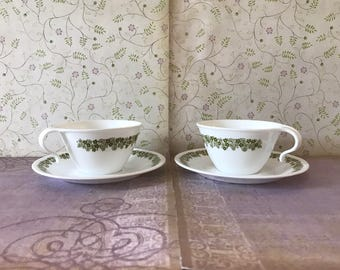 Vintage Corelle Livingware by Corning Crazy Daisy/Spring Blossom Cup and Saucer Set of 2 - 4 Pieces Total