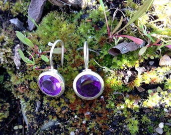Sterling Silver AMETHYST Earrings Faceted Cut