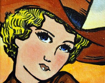 Original Cowgirl Painting by Shawna June Lee