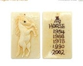 45% off Liquidation SALE Chinese Zodiac Astrology Year of the Horse Carved Bone Horse Rectangle Top Center Drilled Bead (RK39B2b-06)