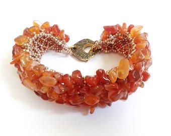Capricho bracelet, beadwoven bracelet, unique bracelet, stone bracelet, orange bracelet, gemstone bracelet, seed beads bracelet, carnelian