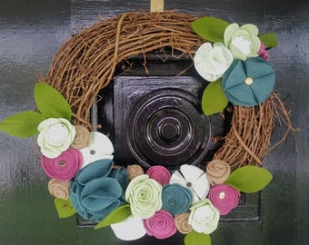 Turquoise & Mulberry Grapevine Wreath, Felt Flower Wreath, Year Round Wreath, Home Decor