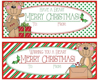 Have a Beary Merry Christmas & Wishing You a Beary Merry Christmas Gift Tags - Printable - Instant Download