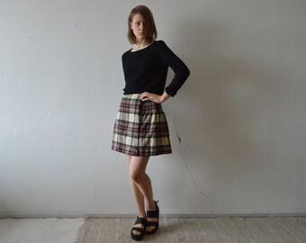 vintage wool kilt tartan pleated wrap mini skirt chekered plaid mini kilt with leather buckles closure in beige burgundy dark olive xs