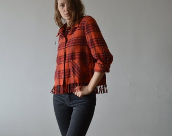 vintage wool blend plaid flannel shirt cropped with fringed hem classic collar button down shirt in orange medium large size