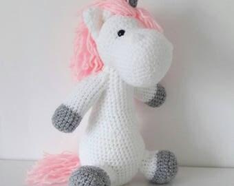 Unicorn emoji crochet plush doll - handmade amigurumi - enchanted forest  nursery decor  - decorative plushie - customisable - made to order