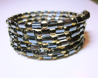 Black Gold Bracelet Cuff Wrap Stack