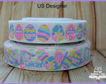 US Designer Ribbon - Easter ribbon- WHITE, 7/8; EGG-stra special, easter eggs, supplies, glitter, 3yd