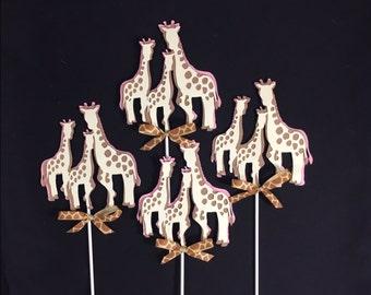 Giraffe centerpieces stick/ Giraffe theme/ Giraffe baby shower/ Pink Giraffe