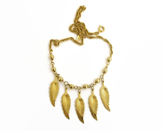 Gold plated leaf necklace with 5 dangling leaves with gold balls and pretty chain, lovely for girl, 16.5 ins / 42.5 cm, circa 1980s