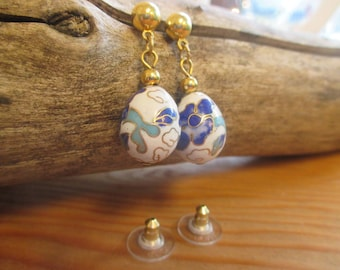 Vintage Cloisonne Bead Earrings