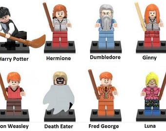 Lot of 8 figures Lego Harry Potter (Harry Potter, Hermione, Dumbledore, Ginny, Ron Weasley, Death Eater, Fred George, moon) customized