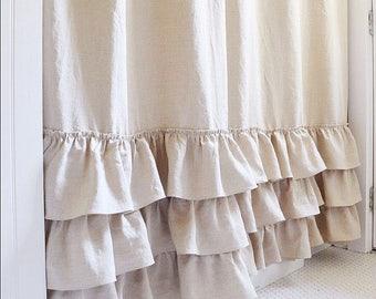 Belgian Linen Ruffle Shower Curtain Cotton Handmade Shabby Chic Girls Bathroom Curtain Custom Color Option Deep Natural Flax Linen