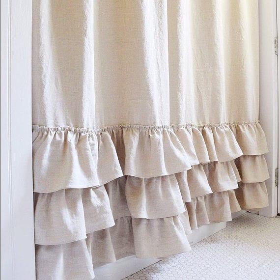 Ruffle Shower Curtain Triple Ruffle Shower Curtain Handmade