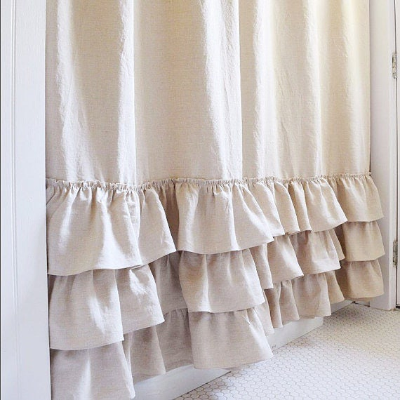 Ruffle Shower Curtain Triple Ruffle Shower Curtain Handmade