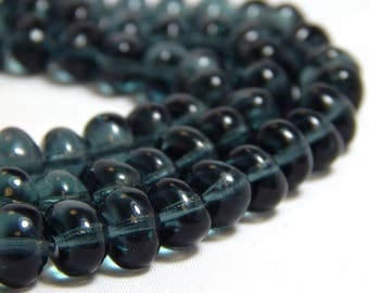 25 Navy Glass Beads, Blue Nugget Beads, Blue Beads, Navy Blue Beads, 8mm Blue Beads, Nugget Beads, Montanta Blue Beads, T-35D