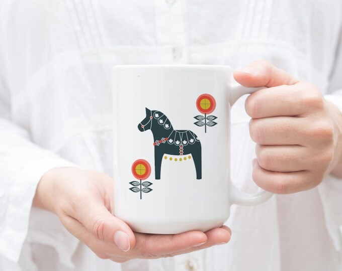 Navy and Orange Floral Dala Horse Mug