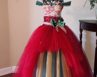 Green, gold, and red Christmas tutu dress.  Beautiful in every way.