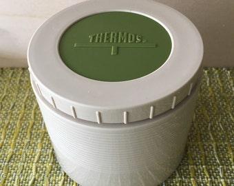 1970s tan and avocado green Thermos jar