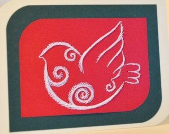 Dove Christmas card, Holiday card, String art