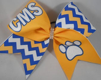 Cheer Bow Custom YOUR School and Mascot Team Bows by BlingItOnCheerBowz Royal Blue Yellow Gold White