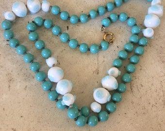 Art Nivea Art Glass, Turquoise Glass Beads Necklace. Beautiful Color.