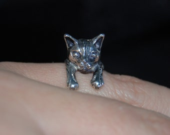 Vintage Sterling Silver Kitty Cat Climbing Wrap Ring 925 #BKC-KWR72