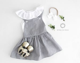 Stripe dungaree overall dress 0-6 yrs