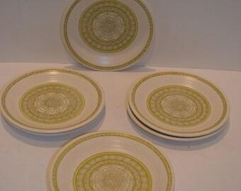 "Set of 6 Franciscan ""Hacienda"" Green Pottery Dinner Plates - 10 1/2"""