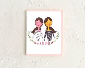 Gemini Card, Astrology Card, Zodiac Card, Zodiac Birthday Card, Gemini Birthday, Astrology Gift, Gift for Gemini, Gemini Art