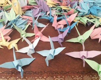 Folded Paper Birds 9cm X 25 Pastel Colour Mix - Origami Birds - Origami Paper Cranes - Wedding Decoration - Baby Shower - Paper Decorations