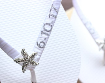 Starfish bridal shower decor, White flip flops Starfish themed wedding sandals for the bride, save the date wedding favor, I do bridal shoes
