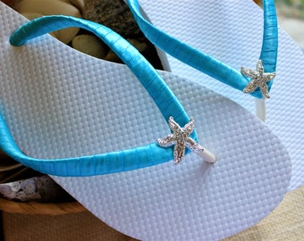 Bachelorette party favor, FLIP FLOPS Turquoise, bride flip flops Blue wedding sandals Bridesmaid gift Beach wedding party, Bridal shower