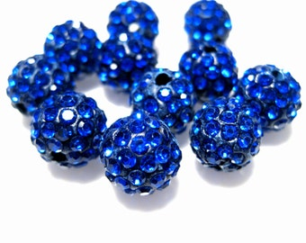 10pcs Sapphire Blue Polymer Clay Rhinestone Beads Pave Disco Ball Beads 10mm - Grade AAA