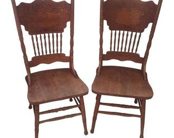 Vintage Wooden Side Chairs - a Pair
