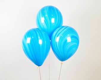 """Blue Marble Balloons, 11"""" Blue Agate Balloon, Blue Balloon, Blue Birthday Balloon, Blue Wedding Balloon, Blue Baby Shower, Blue Party Decor"""