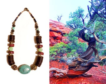 GILDED-MANE JEWELRY - Necklace w/ Vintage African Beads & Turquoise