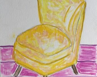 Original 7x10 Watercolor Yellow Sitting Chair