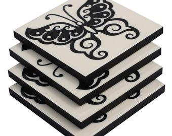 SouvNear  Set of 4 Drink Coasters -SouvNear Retro Beverage Drink Coasters Set Dinnerware Decor Butterfly Pattern