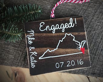 Custom wooden engaged ornament, personalized with choice of state or country