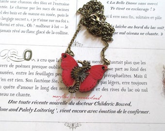 Red Butterfly bronze seahorse necklace