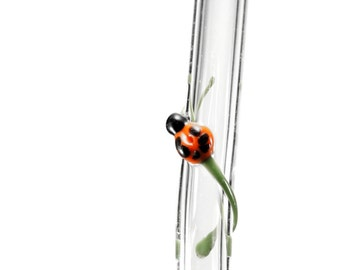 Glass Drinking Straws Ladybug