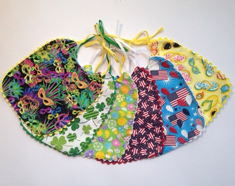 Spring / Summer Mardi Gras, St Patrick's Day, Easter, 4th of July, or Summer Flip Flops Toddler to Child Celebration and Fun Bibs